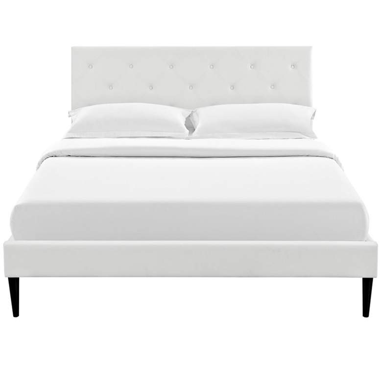 Terisa White Vinyl Full Platform Bed with Round Tapered Legs more views