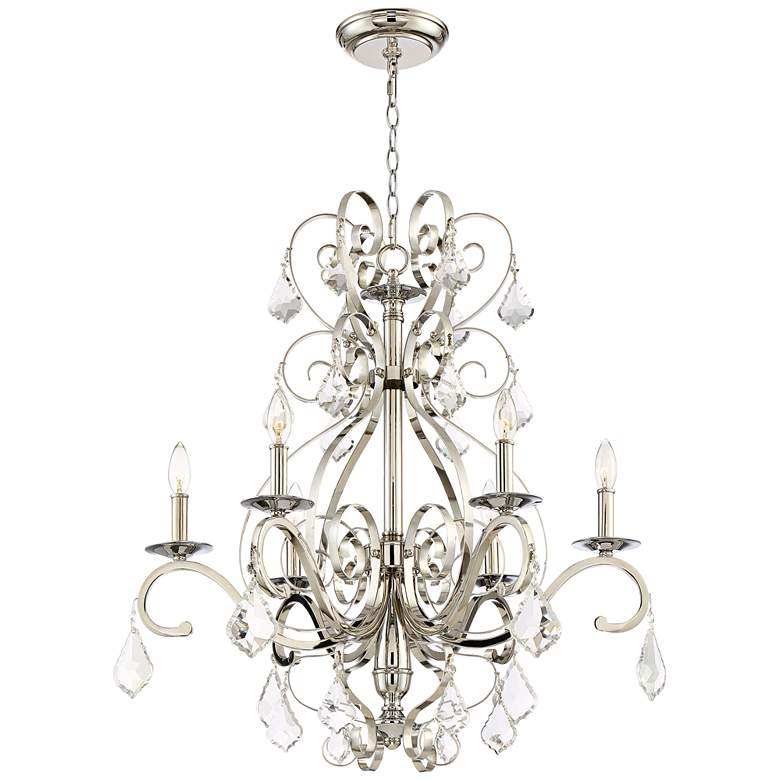 "Kathy Ireland Helena 28"" Wide Chrome 6-Light Chandelier more views"