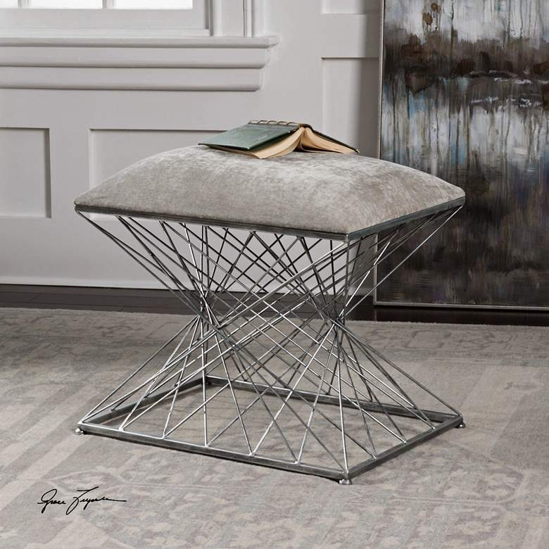 Uttermost Zelia Stony Gray Chenille Fabric Accent Stool more views