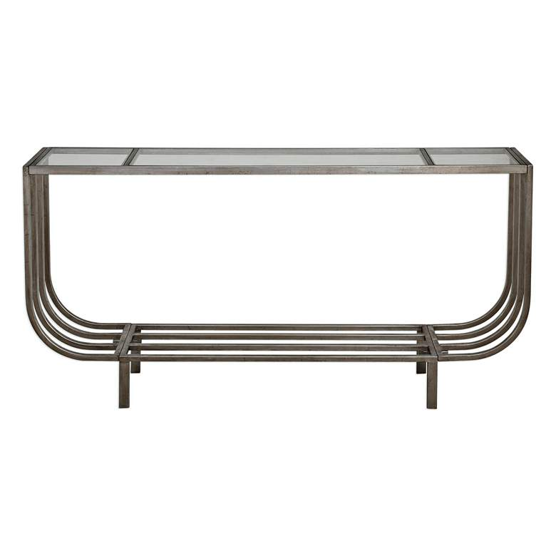 "Arlice 67 3/4"" Wide Clear Glass Silver Leaf Console Table more views"