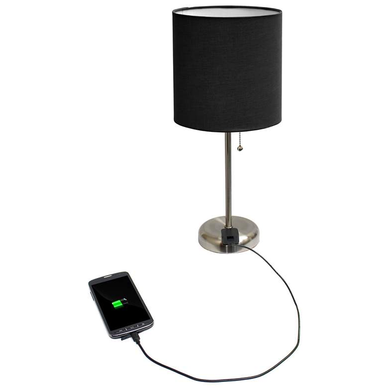 "Ben Brushed Steel 19 1/2""H Accent Table Lamp w/ Black Shade more views"