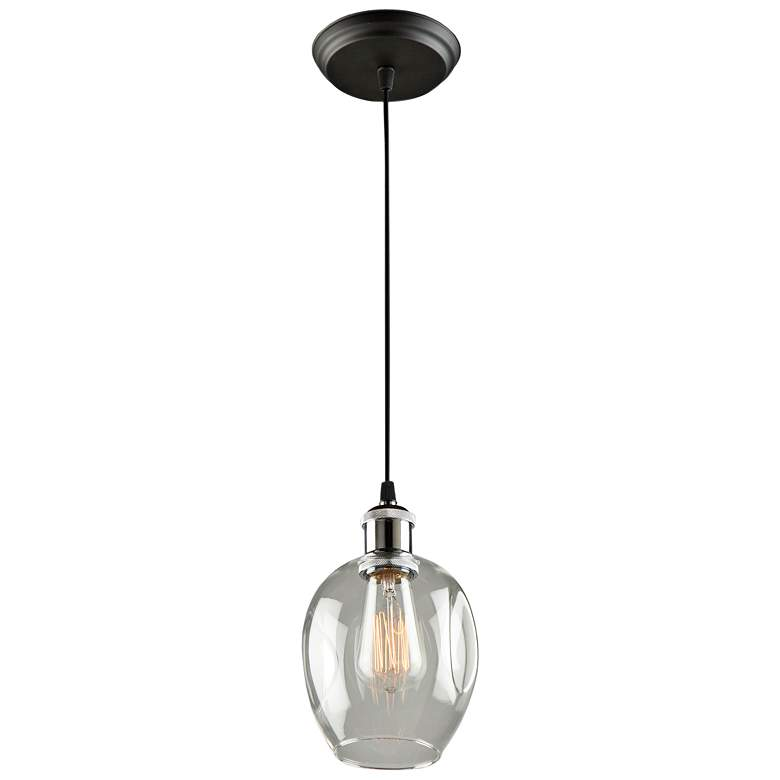 "Clearwater 5 1/2"" Wide Polish Nickel and Black Mini Pendant more views"