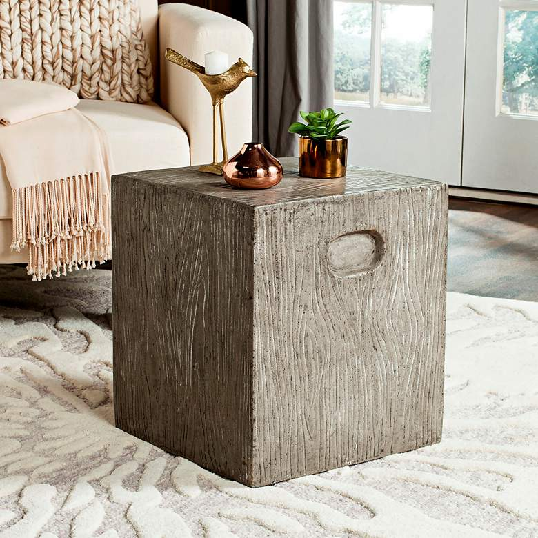 Safavieh Cube Dark Gray Concrete Indoor-Outdoor Accent Table more views