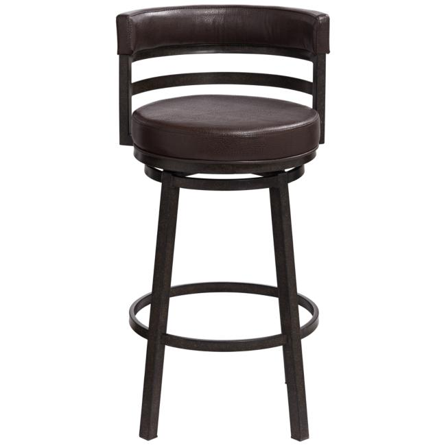 "Madrid 30"" Ford Brown Faux Leather Swivel Bar Stool"