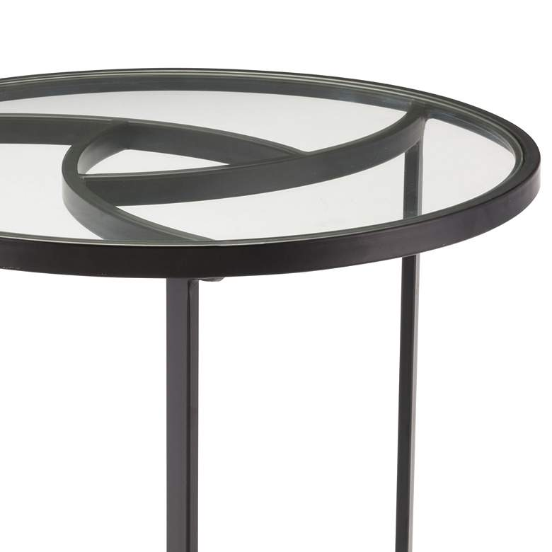 "Asterisk 22 3/4"" Wide Glass Top and Black Round End Table more views"