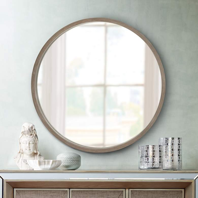 "Ferguson Brush Gray Wood 34"" Round Wall Mirror more views"