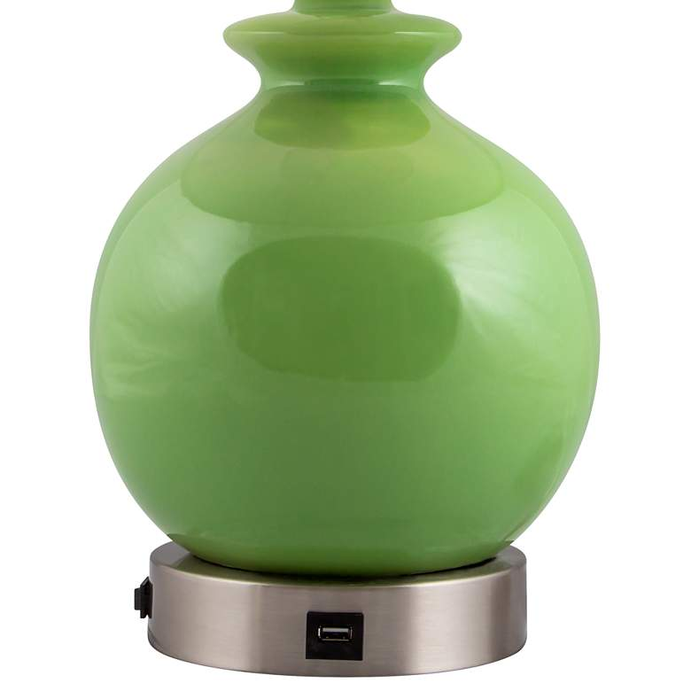 Bristol Clover Green Accent Outlet Table Lamp W Usb Port