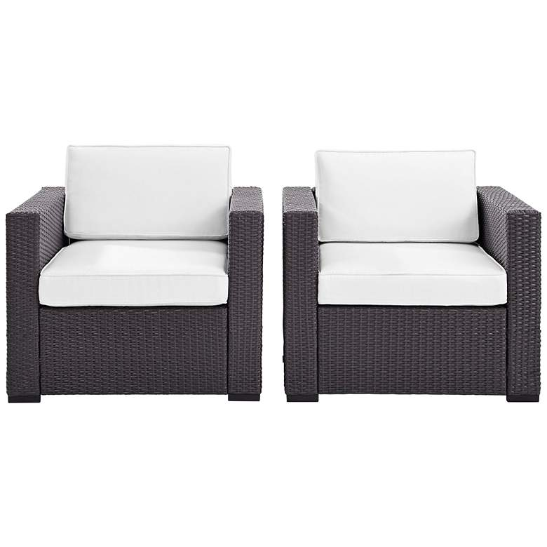 Biscayne White Fabric Outdoor Wicker Armchair Set of 2 ...