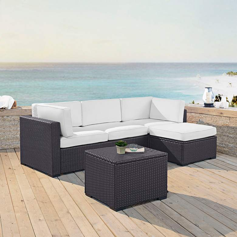 Biscayne White Fabric 4-Piece 3-Seat Outdoor Patio Set more views