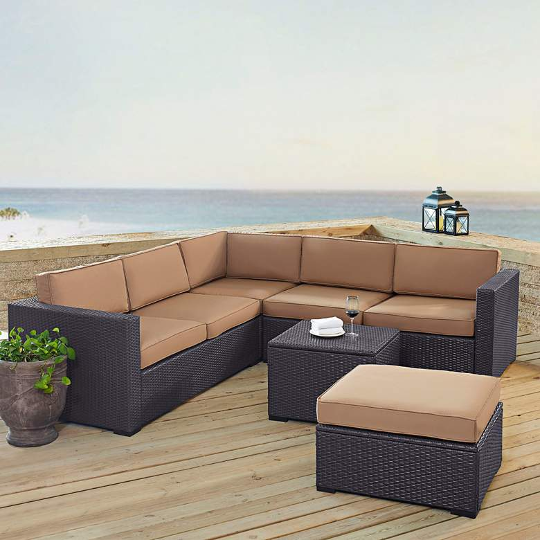 Biscayne Mocha Fabric 5-Piece 5-Seat Outdoor Patio Set more views