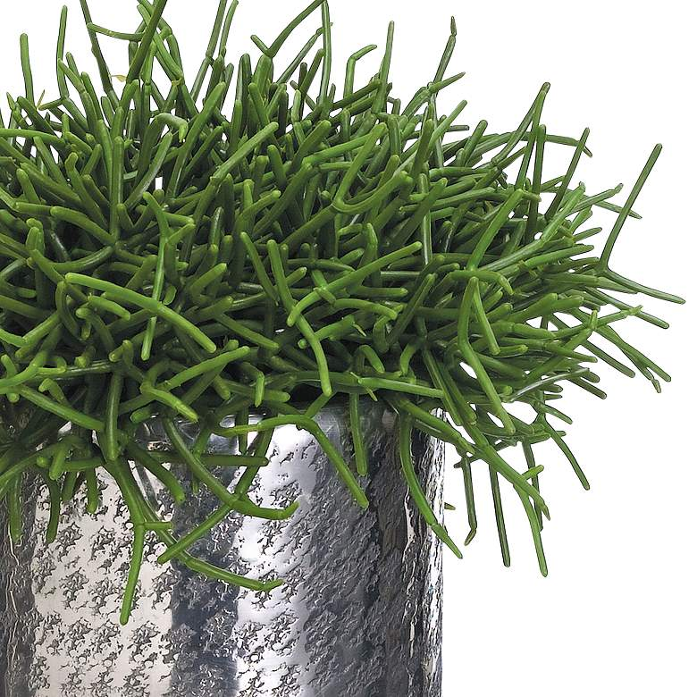 "Green Pencil Cactus 15"" High Faux Plant in Aluminum Planter more views"