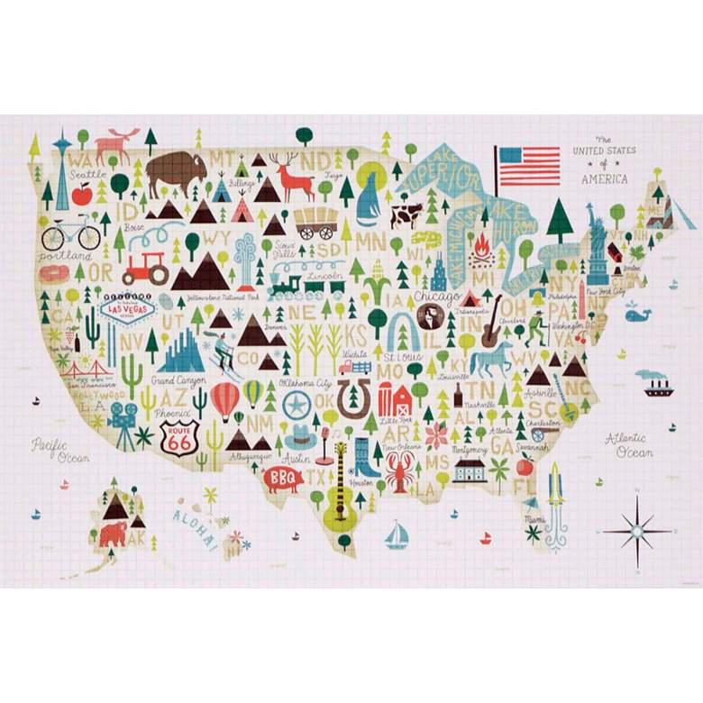 "Illustrated USA 45"" Wide Framed Wall Art more views"