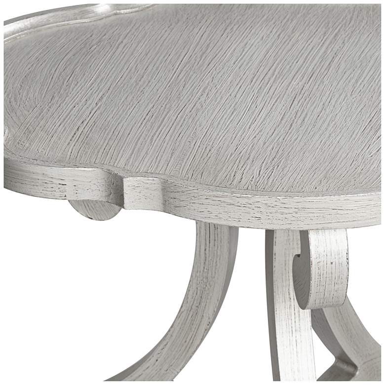 "Adriana 26"" Wide Brushed Silver Scalloped Side Table more views"