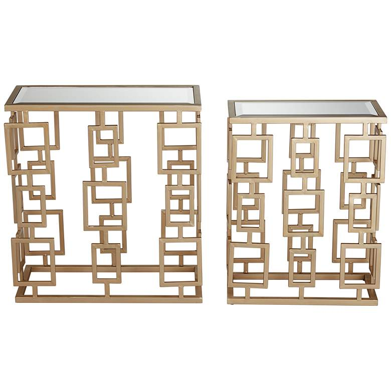 Maddox  Champagne Metal and Mirrored 2-Piece Table Set more views