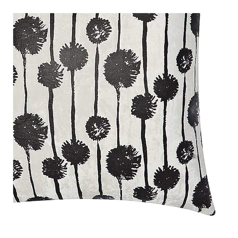 "Luminecence Black Metallic Dandelions 20"" Square Pillow more views"