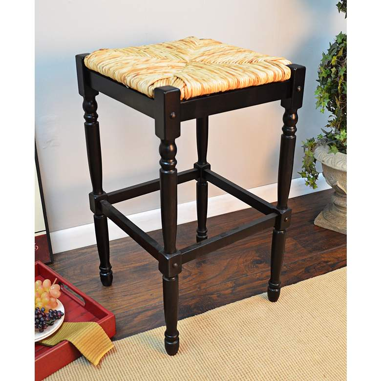 "Thomasville 29 1/4"" Antique Black Barstool more views"