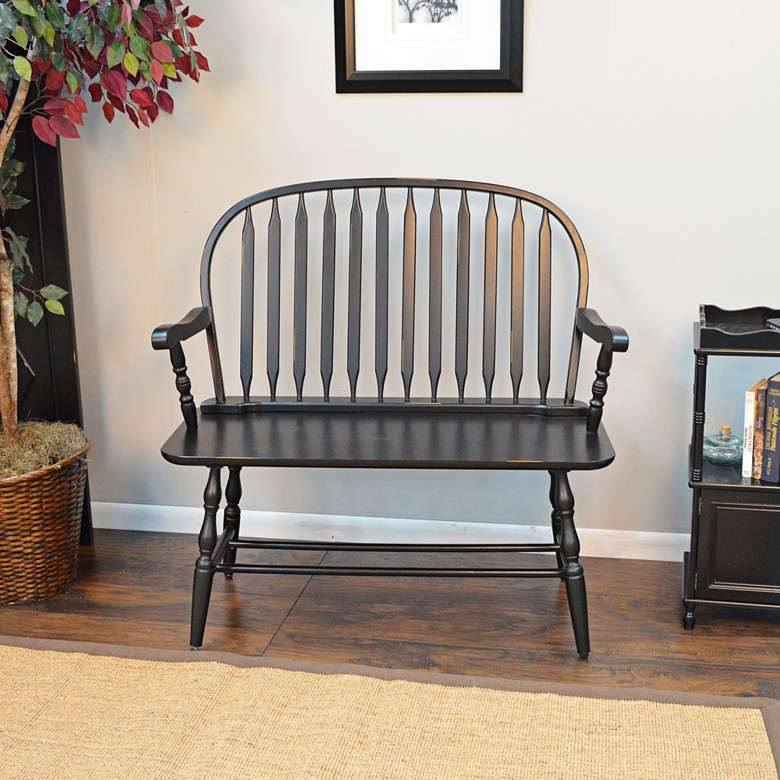 Niagra Antique Black Wood Windsor Bench more views