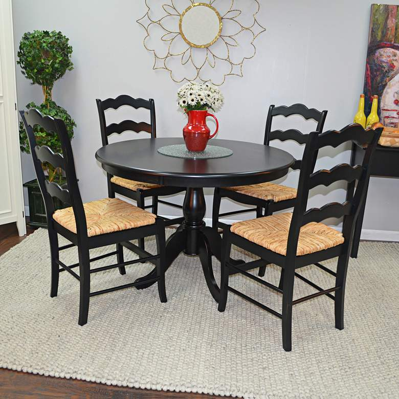 "Bella 42"" Wide Antique Black Round Pedestal Dining Table more views"