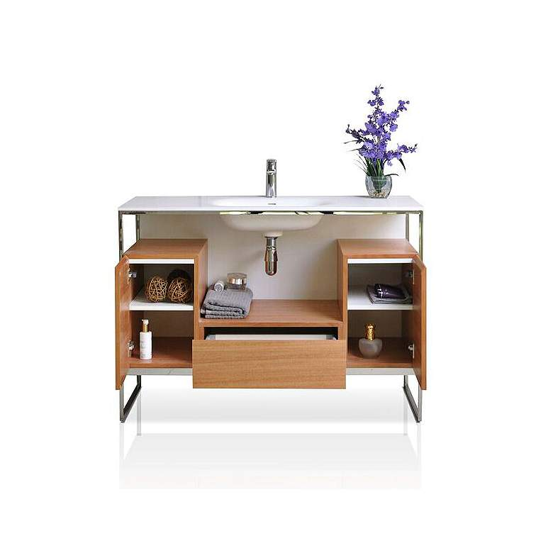 "Tory 48"" Walnut Wood 1-Drawer Single Sink Modern Vanity Set more views"