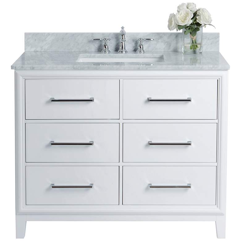 "Ellie 42"" White 6-Drawer Single Sink Vanity Set more views"
