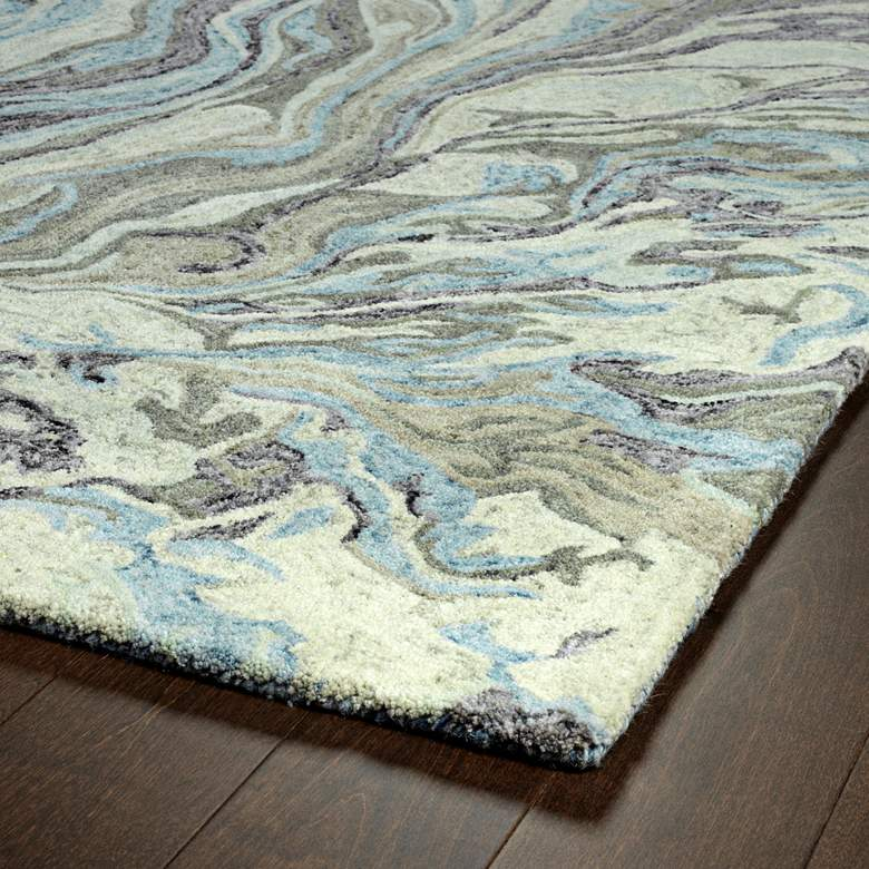 "Kaleen Marble MBL04-17 5'x7'9"" Blue Wool Area Rug more views"