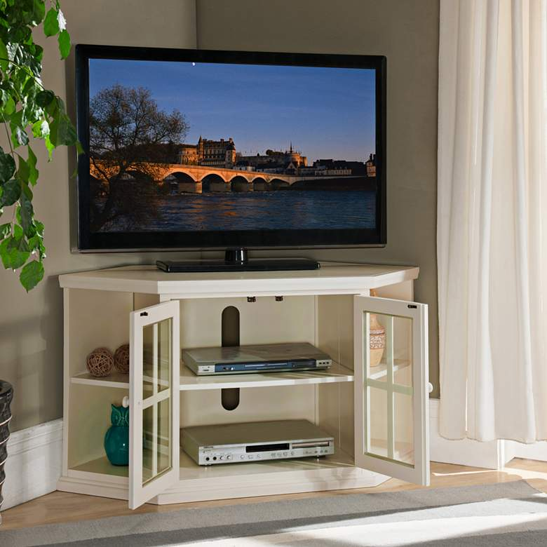 "Shelbie 46"" Wide Cottage White 2-Door Corner TV Stand more views"