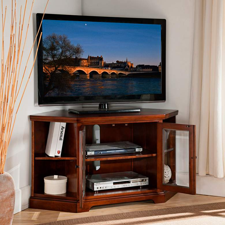 "Treble Rich 46"" Wide Cherry Wood 2-Door Corner TV Stand more views"