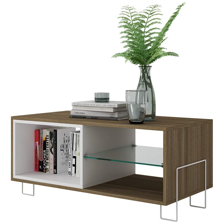 "Boden 35 1/2"" Wide Oak and White Wood Modern TV Stand more views"