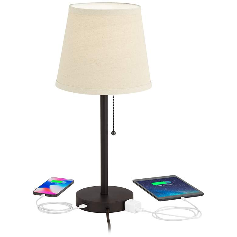 "Flesner Bronze 20"" High Accent Table Lamp with USB Port more views"
