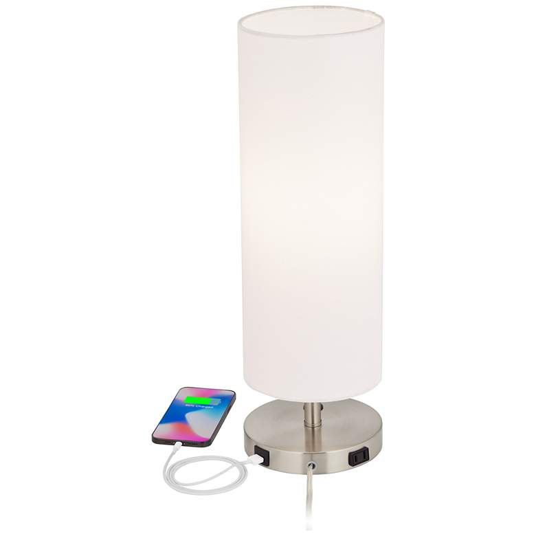 Heyburn Brushed Nickel Accent Table Lamp with USB Port more views