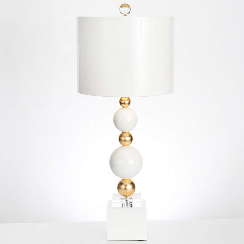 Couture Sheridan White and Gold Leaf Table Lamp more views
