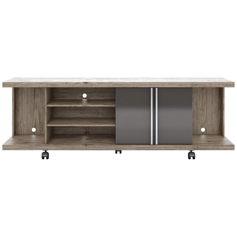 "Carnegie 71"" Wide  Nature and Onyx 2-Door TV Stand more views"