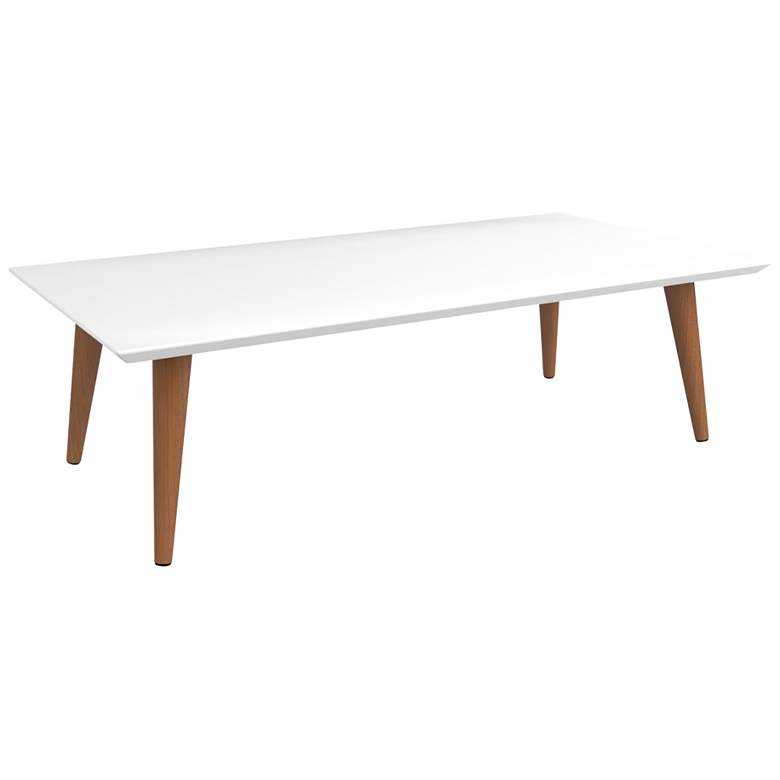 Utopia White Gloss and Maple Cream Rectangular Coffee Table more views