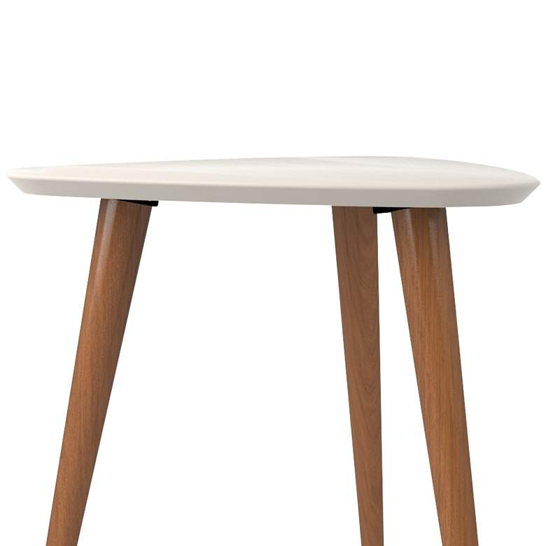Utopia White Gloss and Maple Cream Triangular End Table more views