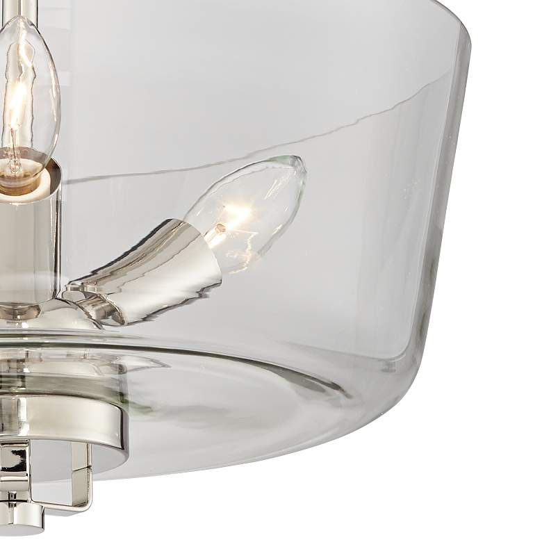 Janus Polished Nickel Glass Bowl 3-Light Ceiling Light more views