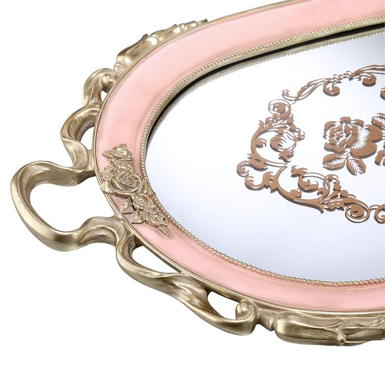 "Capolla Pink and Gold 20"" Wide Mirrored Tray more views"