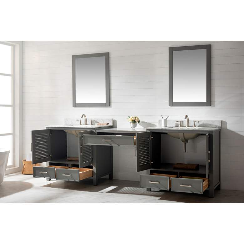 "Estate 102""W Gray Double Sink Bathroom Vanity Modular Set more views"