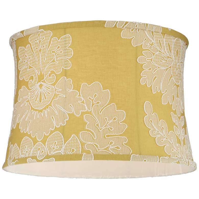 Yellow w/ Stitch Filigree Drum Lamp Shade 15x16x11 (Spider) more views
