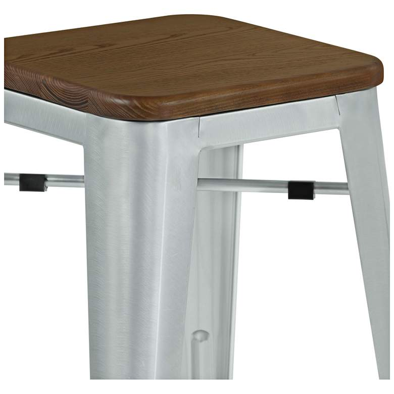 "Emery 30"" Walnut and Brushed Galvanized Steel Barstool more views"