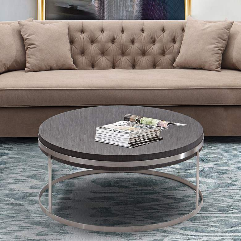"Sunset 40"" Wide Gray Wood and Steel Modern Coffee Table more views"