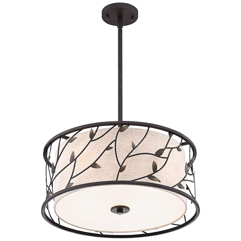 "Zollo 20"" Wide Bronze Pendant Light with Fabric Shade more views"