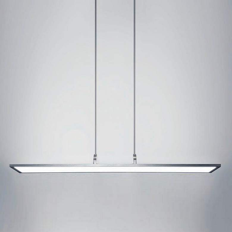 "Line 48"" Wide Brushed Aluminum Soft White LED Island Pendant more views"