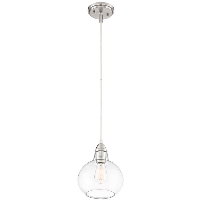 "Zoe 8"" Wide Brushed Nickel and Clear Glass Mini Pendant more views"
