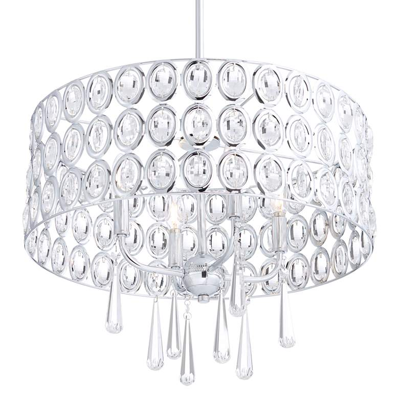 "Possini Euro Almyra 19"" Wide Chrome Crystal Pendant Light more views"