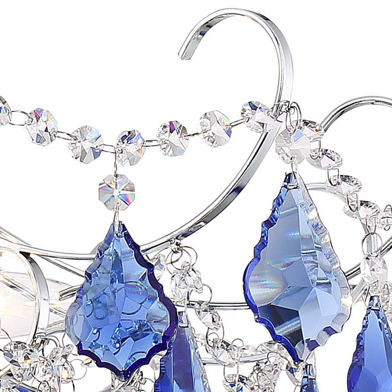 "Alpine 26"" Wide Chrome and Blue Crystal Chandelier more views"