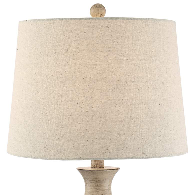 Serena Beige Gray Wood Finish Table Lamps Set of 2 more views