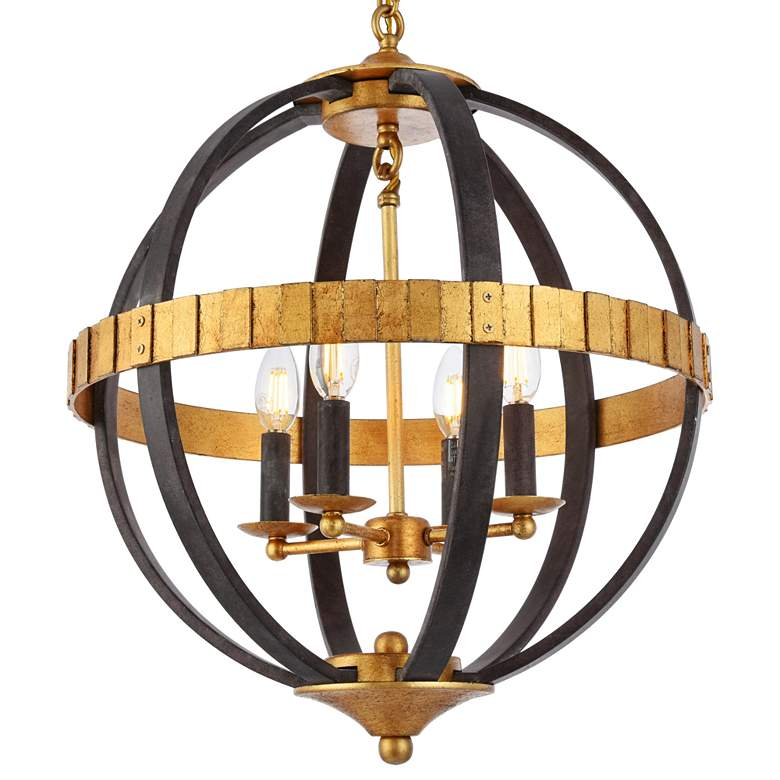 "Orbus 18""W Saddle Rust and Golden Iron 4-Light Pendant more views"