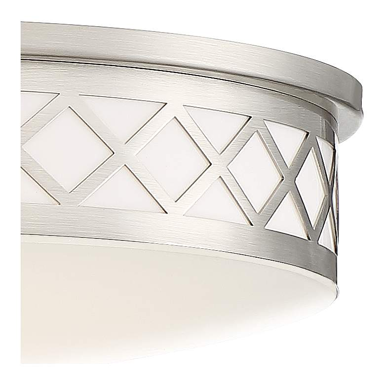 "Belinda 12 1/2"" Wide Diamond Satin Nickel LED Ceiling Light more views"