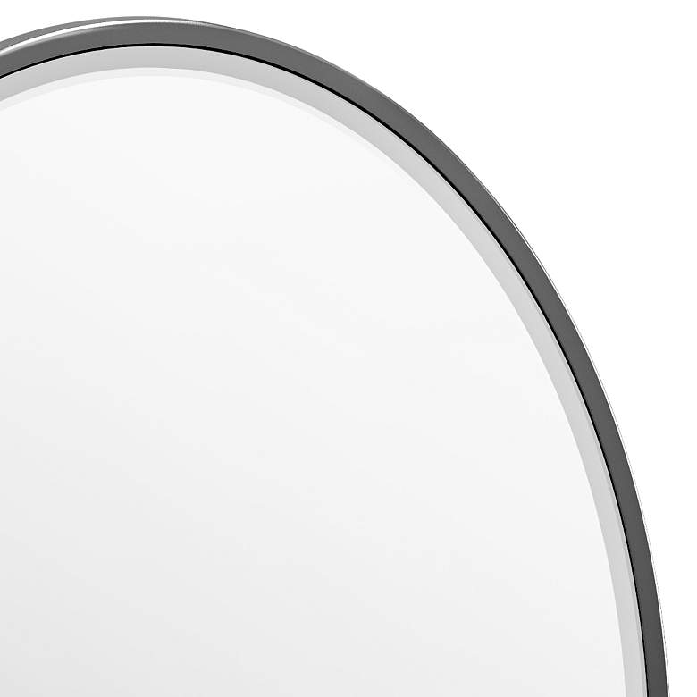 "Elevate Matte Black 28 1/4"" x 33"" Oval Framed Wall Mirror more views"