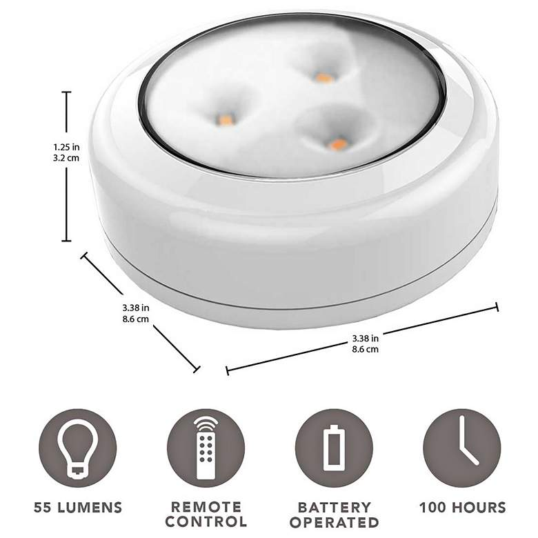Set of 6 Brilliant Evolution LED Puck Lights with Remote more views